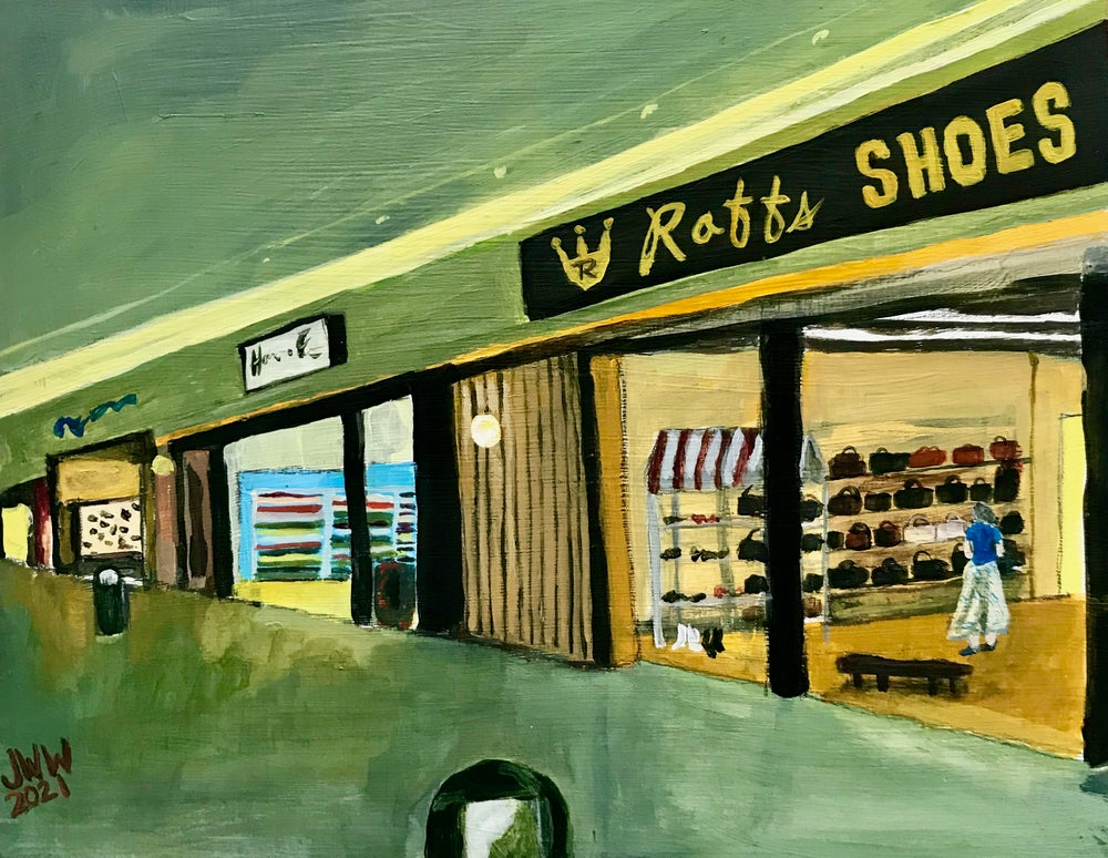 SMALL MALLS - North Valley Shopping Center Mall in Wenathcee, WA - Original Painting