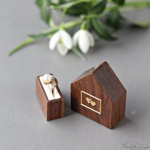 Image of Pocket size tiny ring box with gold color hearts