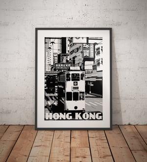 Image of Vintage poster Hong Kong - Tramway - Ding Ding - Black & White - Fine Art Print