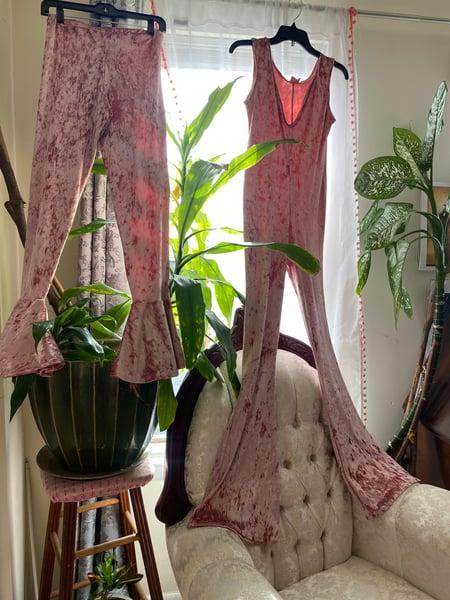Image of Come Thru Pink Velvet Jumpsuit