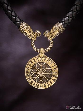 Image of Aegishjalmur : Helm of Awe : Futhark Runes - Leather Necklace
