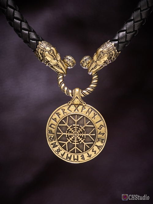 Image of Aegishjalmur : Helm of Awe : Futhark Runes - Leather Necklace