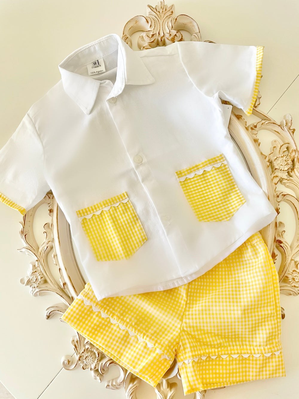 Image of Boys yellow gingham nightwear
