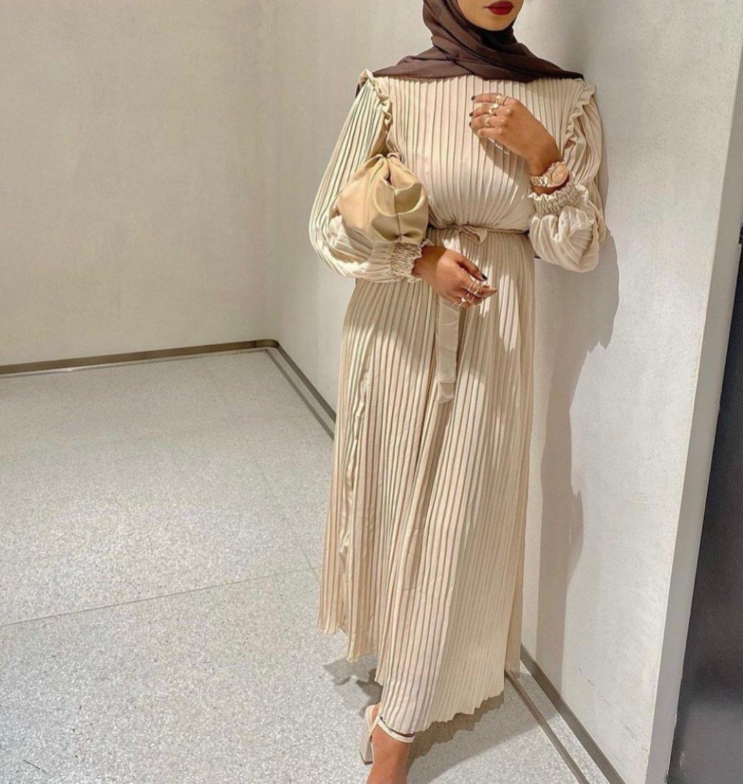 Image of Pleated Creme Maxi Dress