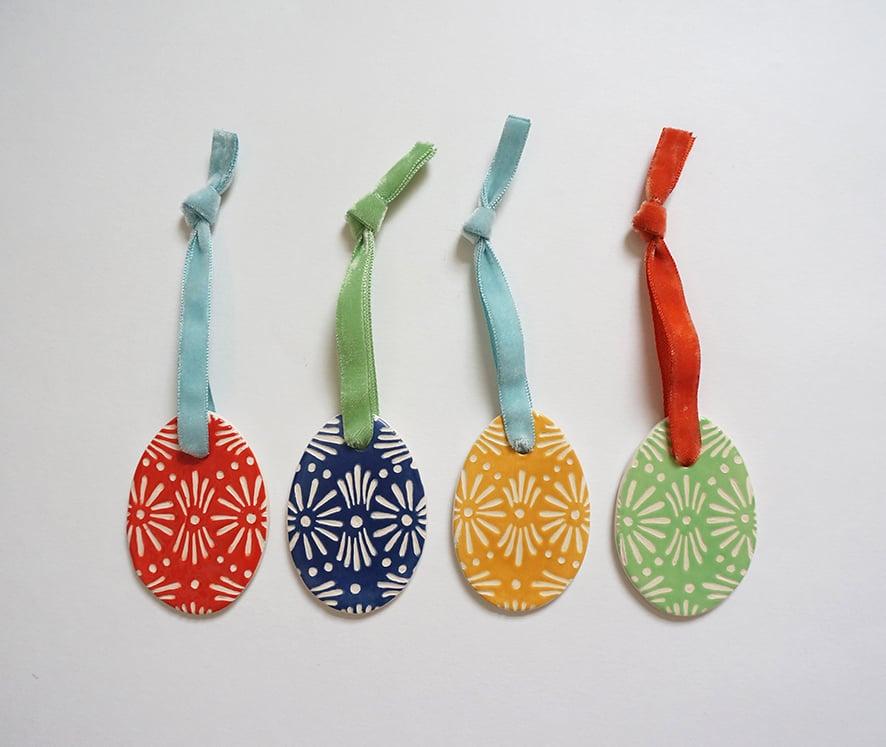 Image of Ceramic Easter Egg Decorations - 2021