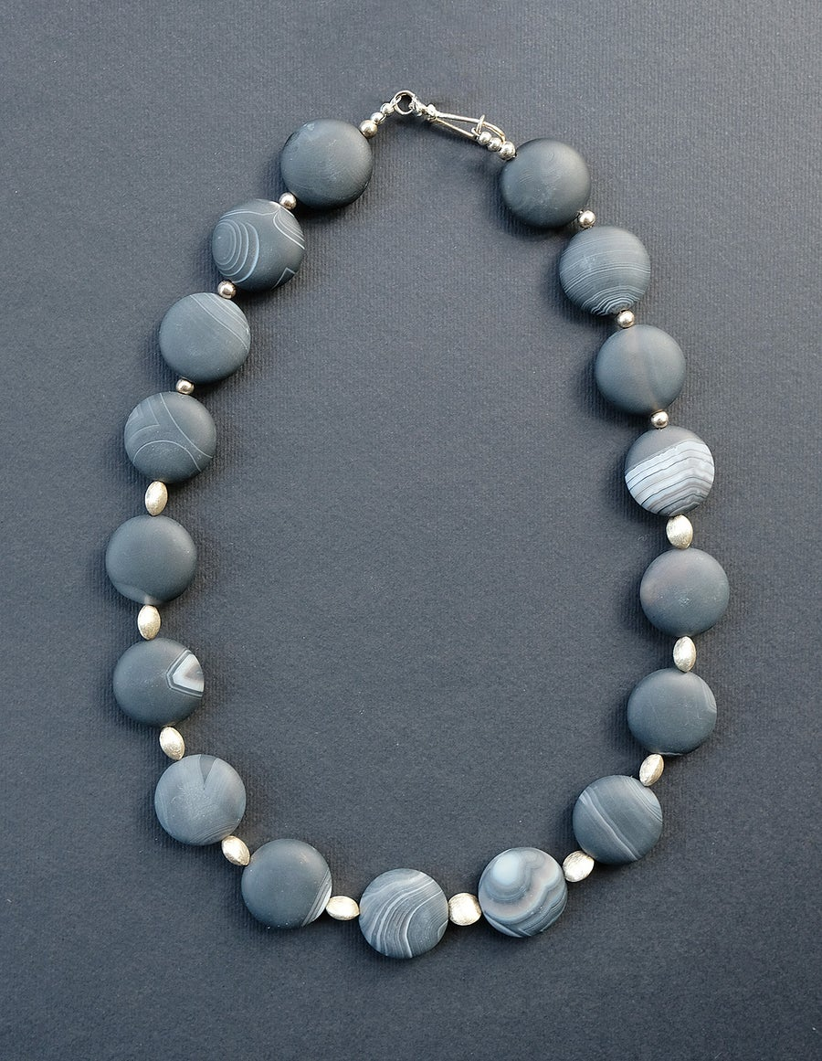 Image of HANDMADE AGATE & STERLING SILVER 'COIN' NECKLACE