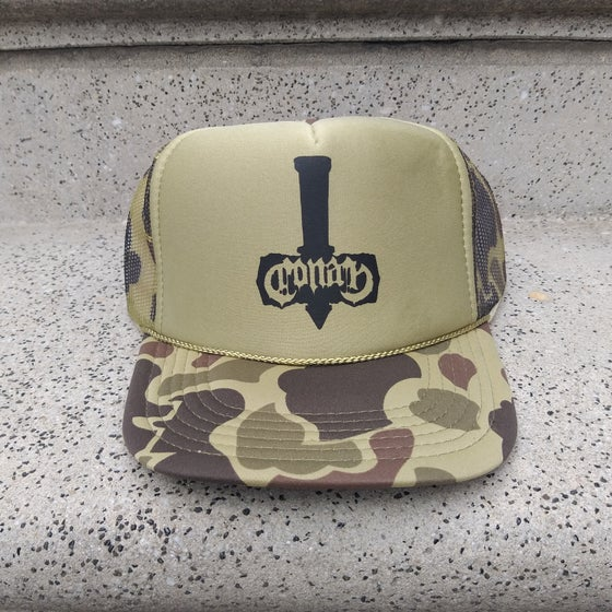 Image of Conan Battle Hammer Light Green Camo Trucker Cap