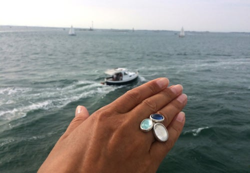 """Image of """"The sky, the sea.."""" silver rings with aquamarine, rock crystal and kyanite  · CAELUM, MARE..·"""
