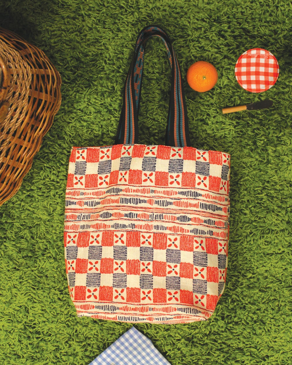 Image of Vintage Quilt Pattern and Orange Corduroy Tall Tote