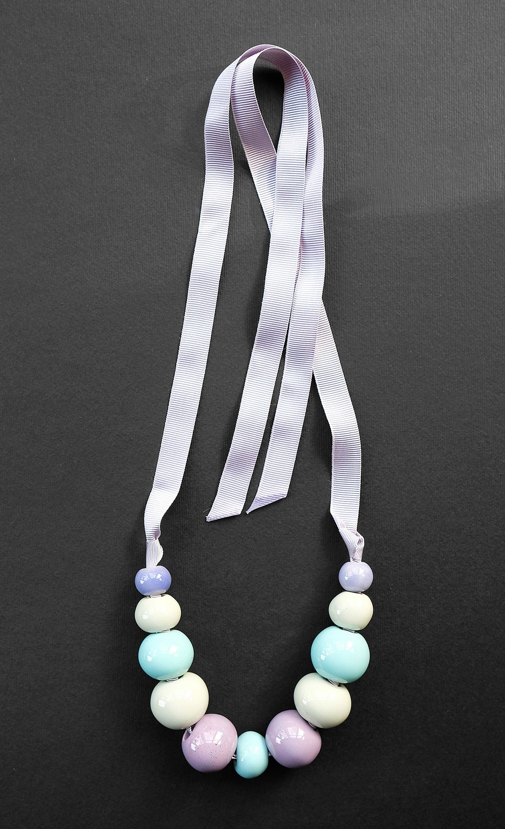 Image of HANDMADE CERAMIC BEAD & RIBBON NECKLACE - PASTEL