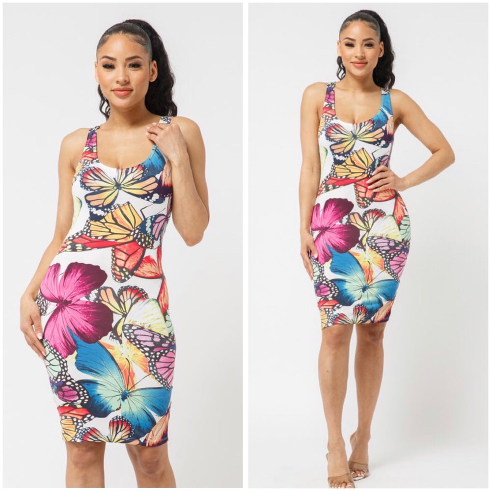 Image of #1101 MULTI COLOR BUTTERFLY BODYCON DRESS