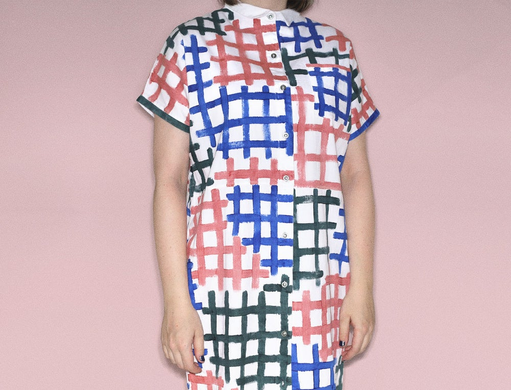 Image of PAINTED GRID DRESS