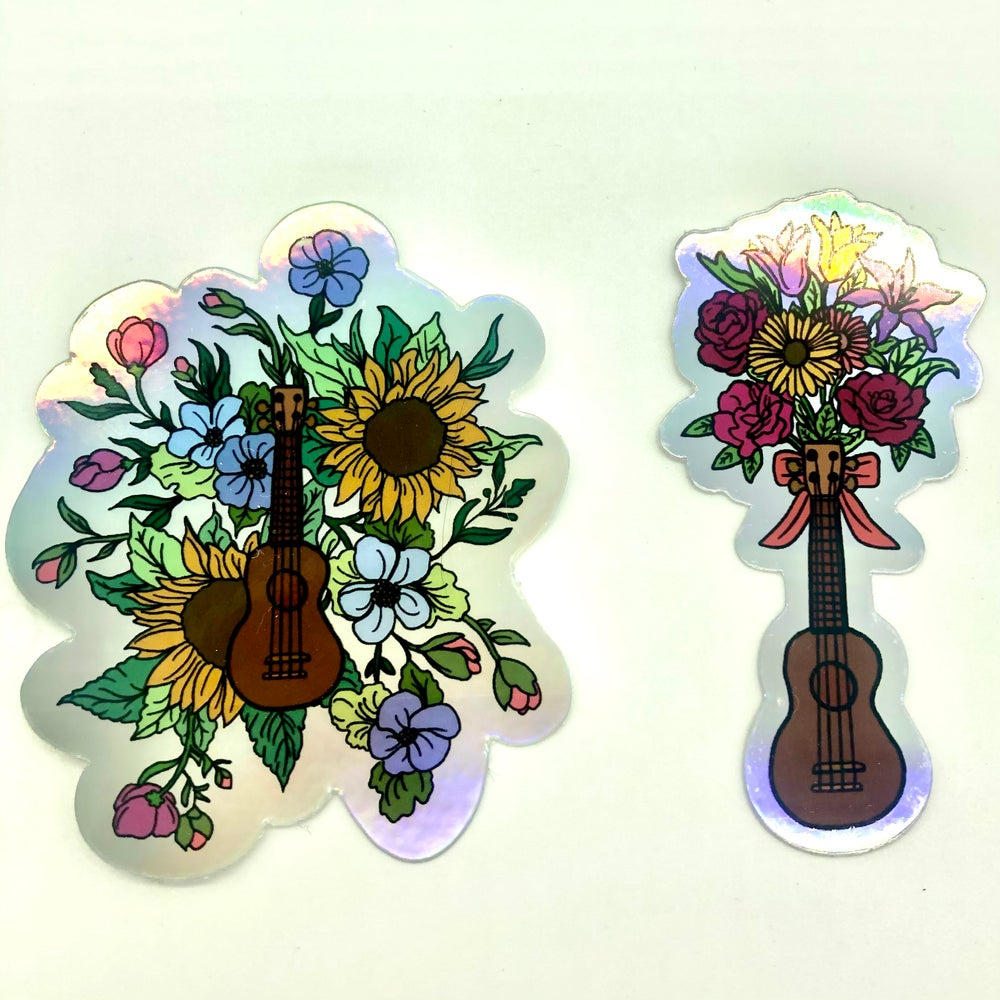 Image of Ukulele Stickers. Original designs by Daisy Vanderwood