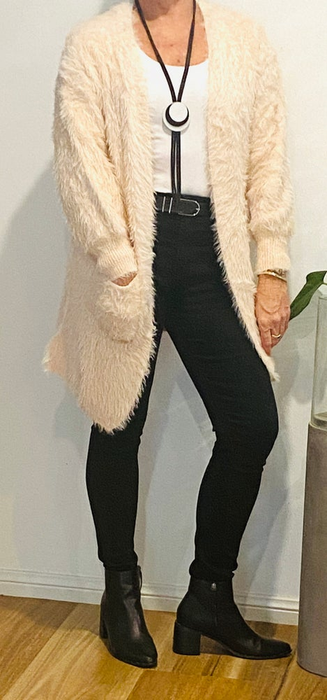 Image of Sue Fluffy Cardi Champagne