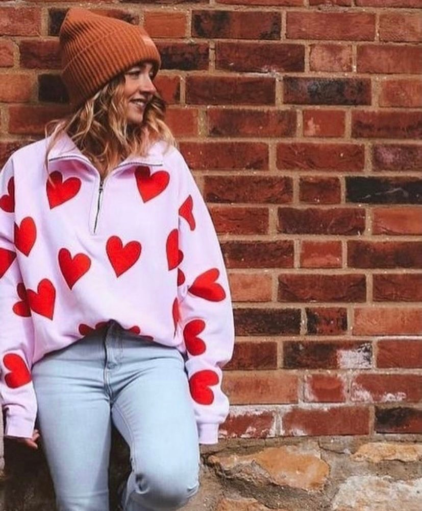 Image of I heart you pink zip up sweater