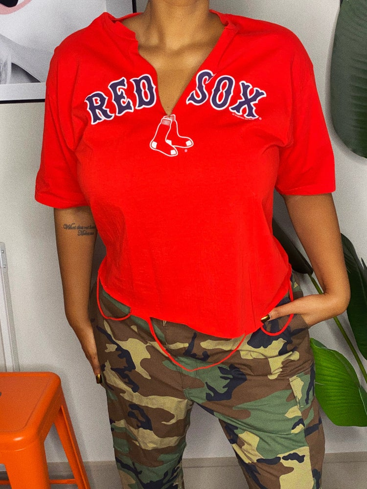 Image of RAEWORKED  RED SOX TEE-LARGE