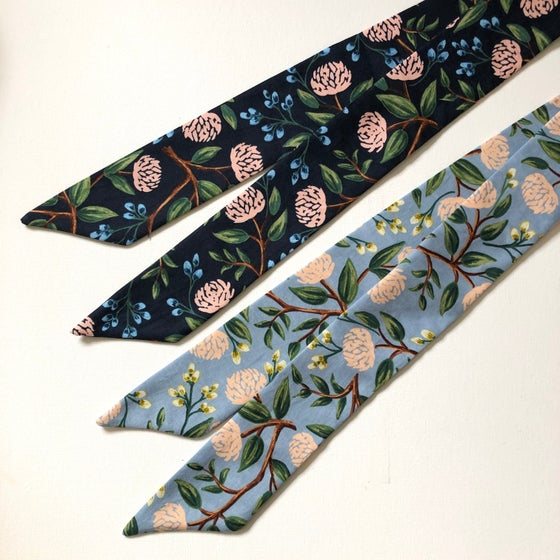 Image of NEW! Hair Ribbon - blue & navy peony - Rifle Paper Co. Edition