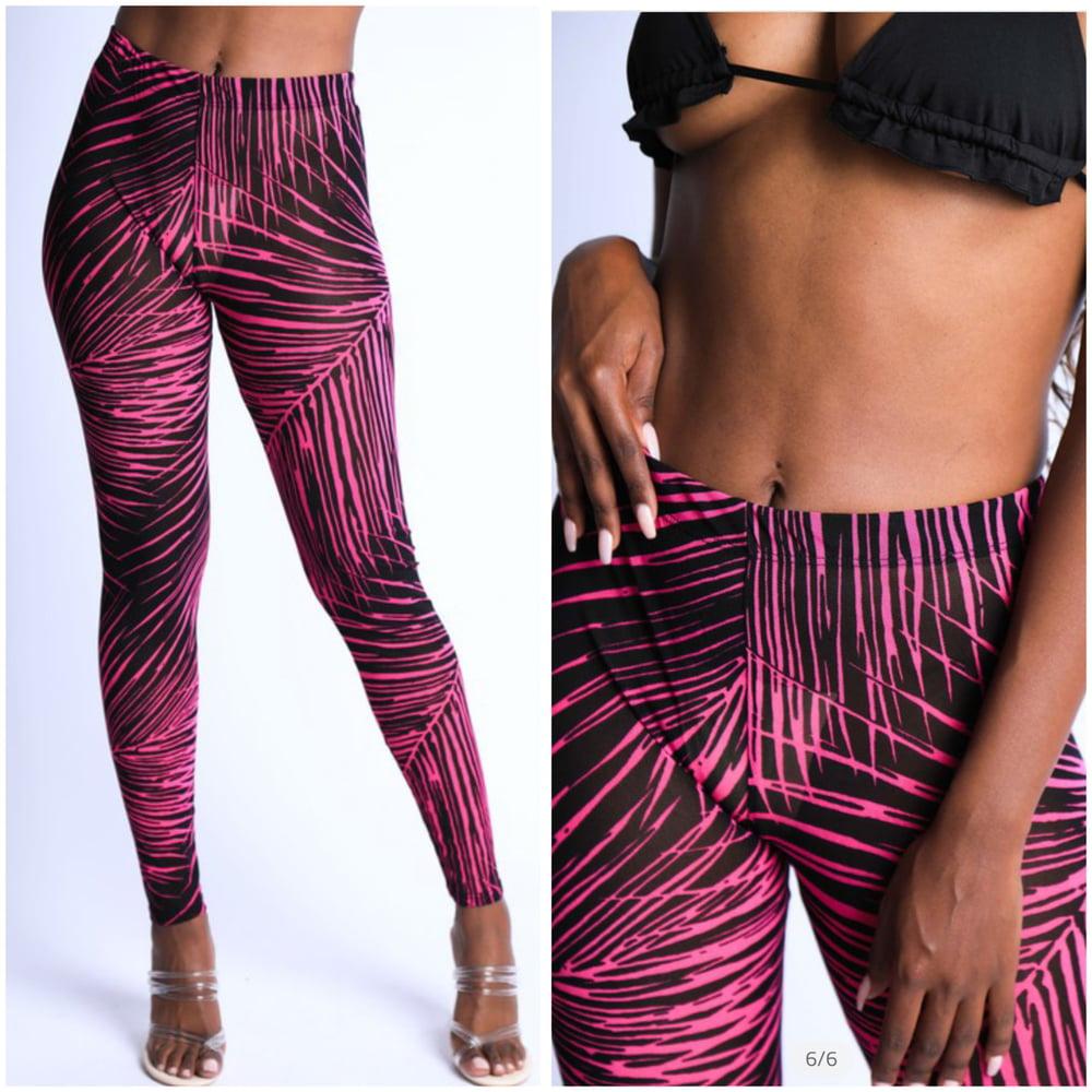 Image of #1190 Neon Pink Tropical Printed Mesh Leggings
