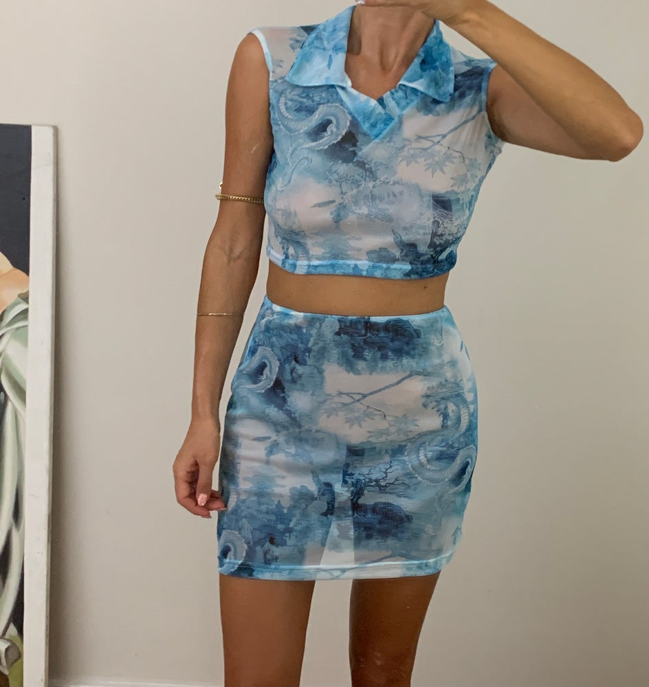 Image of Dragon Mesh Collared Co-Ord