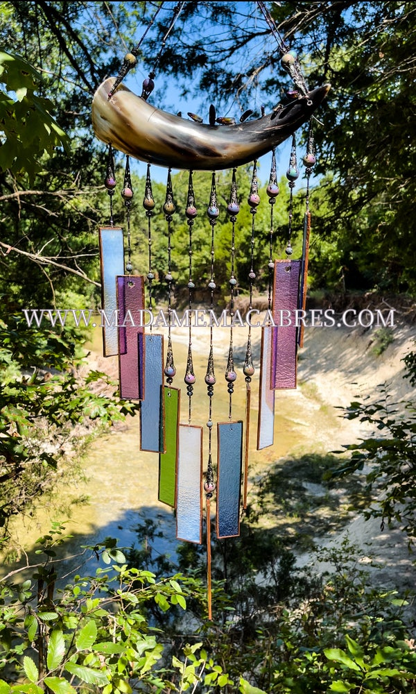 Image of Beaded Bullhorn Stained-Glass Chimes