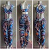BLUE MARBLE 2PC CROP TOP AND JOGGER SET
