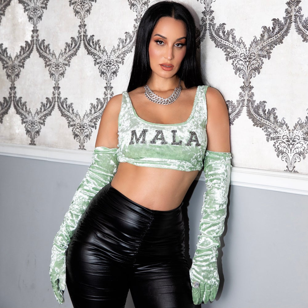 Image of Limited Edition Mint Velvet Mala Crop Top Set