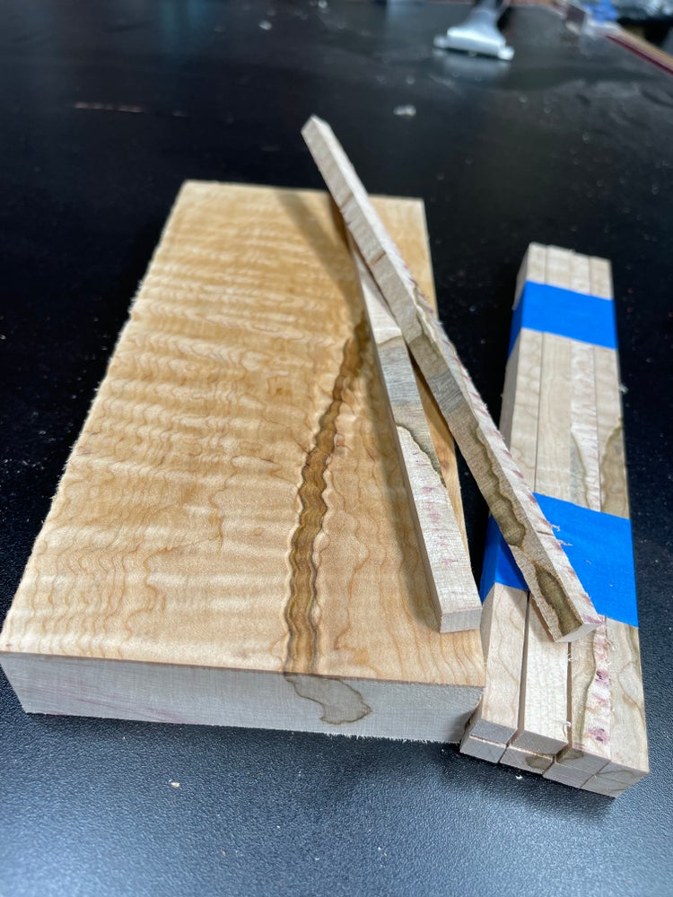 Image of Curly Wormy Maple Chopstick Blanks - Sets Of 8