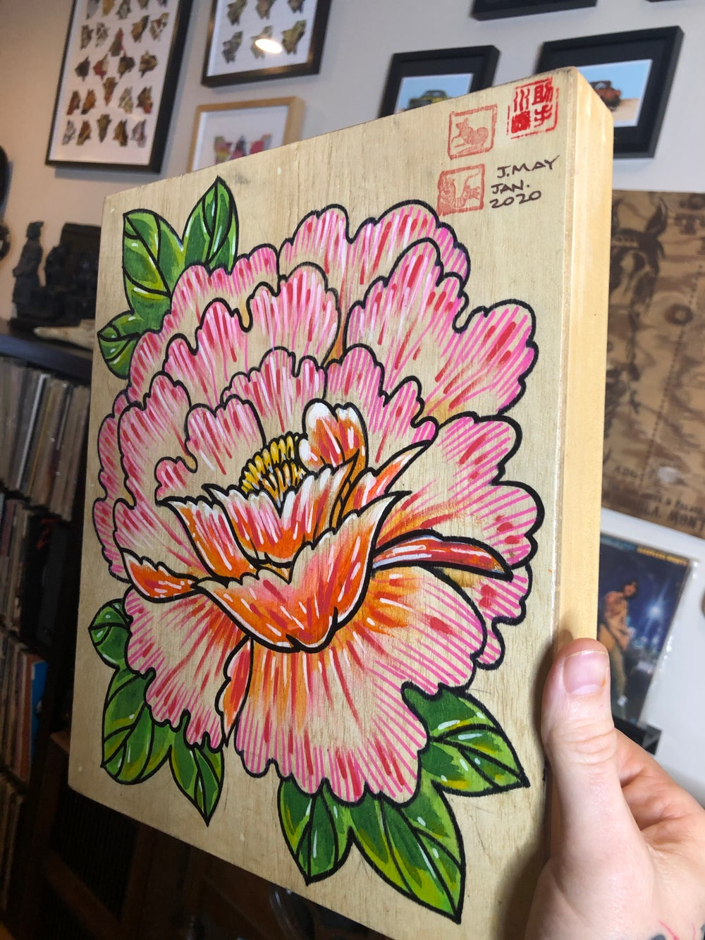 Peony Painting on Birch Panel
