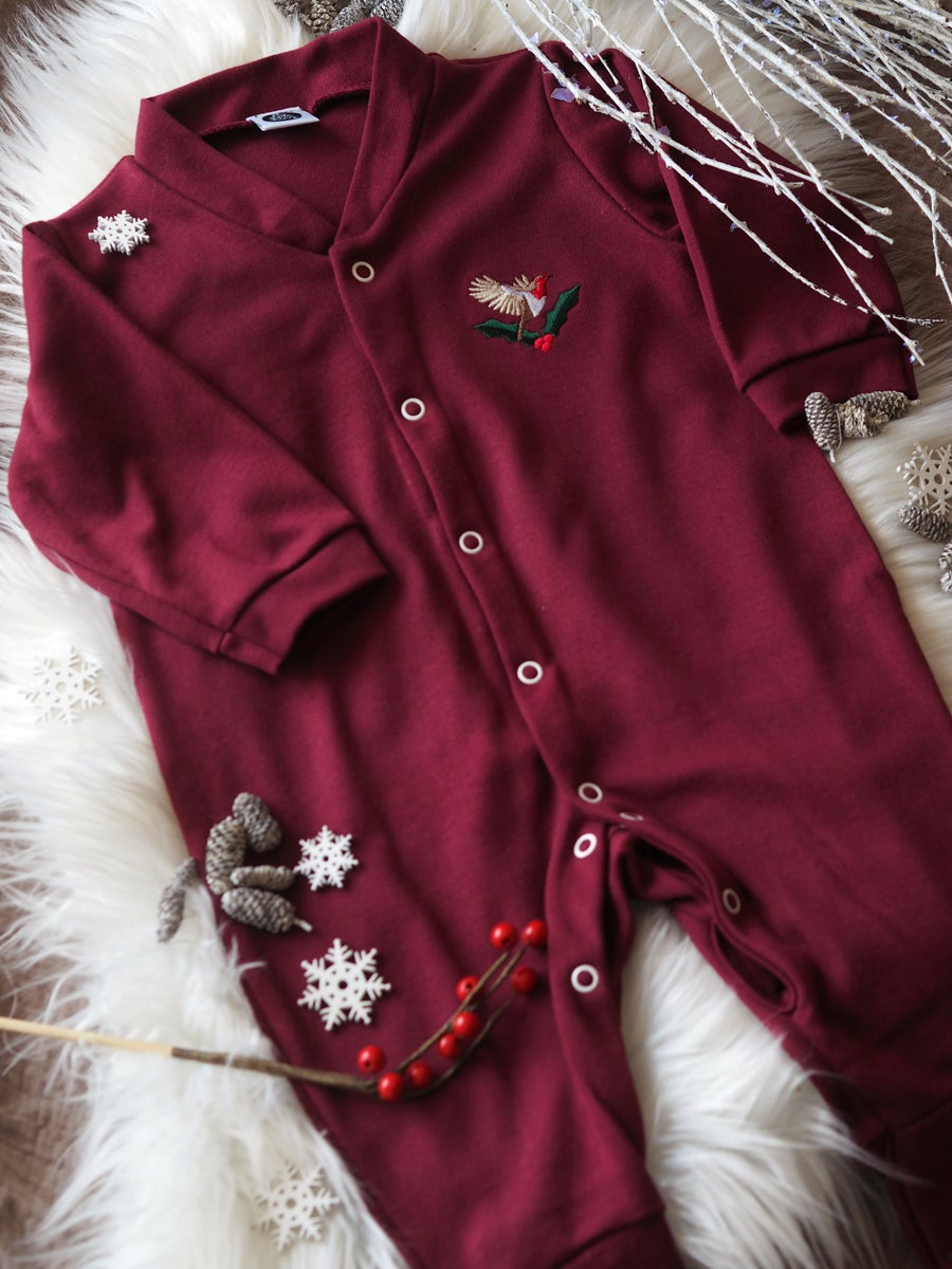 Image of Deck The Halls Robin - Maroon, Button Down Sleepsuit