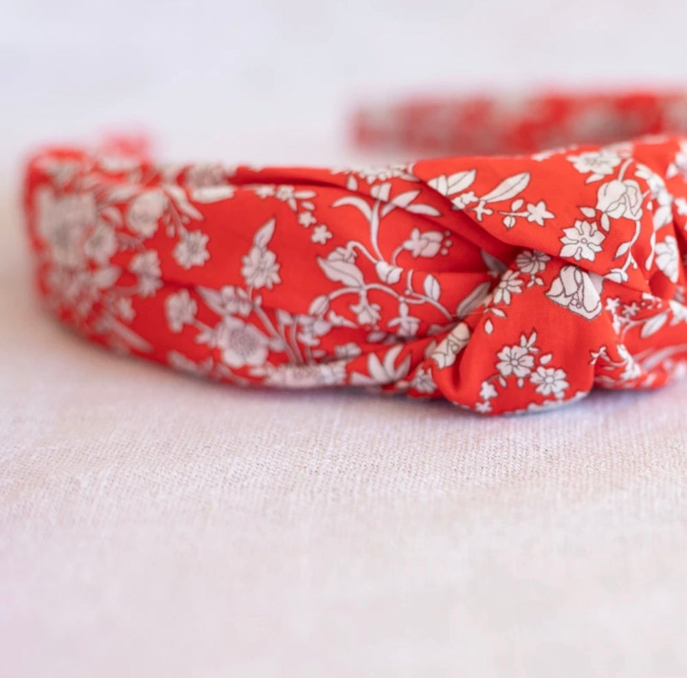 Image of Adult Knotted Headband - Summer Blooms Red