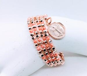 """Original Rose Gold & Glass  """"Wrap Cross Bracelet"""""""