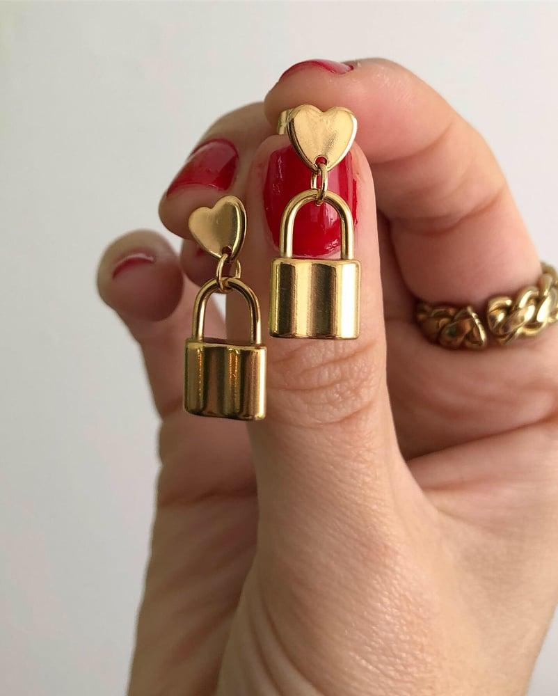Image of PADLOCK HEART STUD EARRINGS GOLD & SILVER