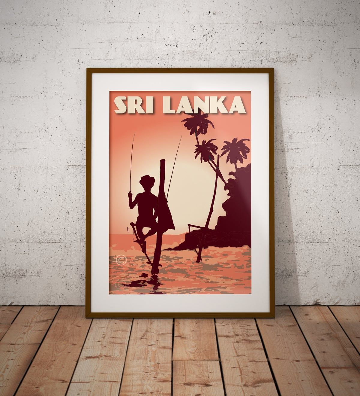 Image of Vintage Poster Sri Lanka - Fisherman on Stilt - Coral - Fine Art Print