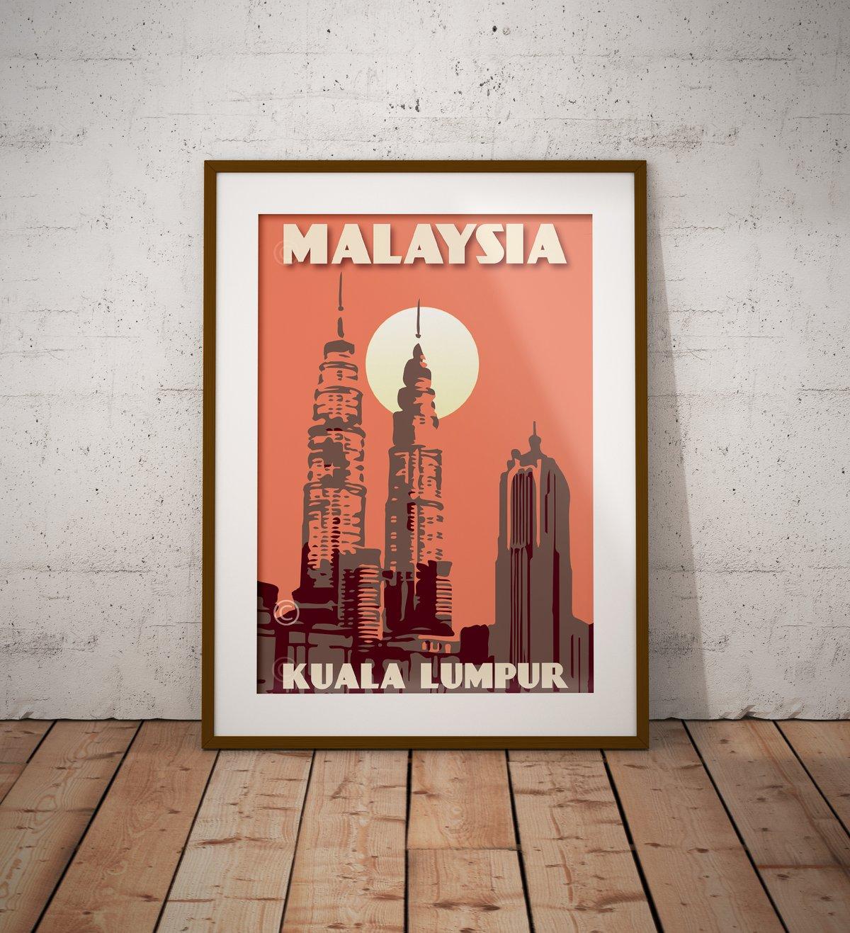 Image of Vintage poster Malaysia - Kuala Lumpur - Petronas Towers - Coral - Fine Art Print