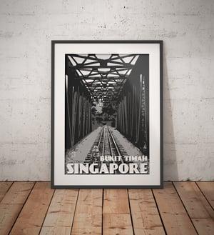 Image of Vintage Poster Singapore - Bukit Timah - Black & White - Fine Art Print