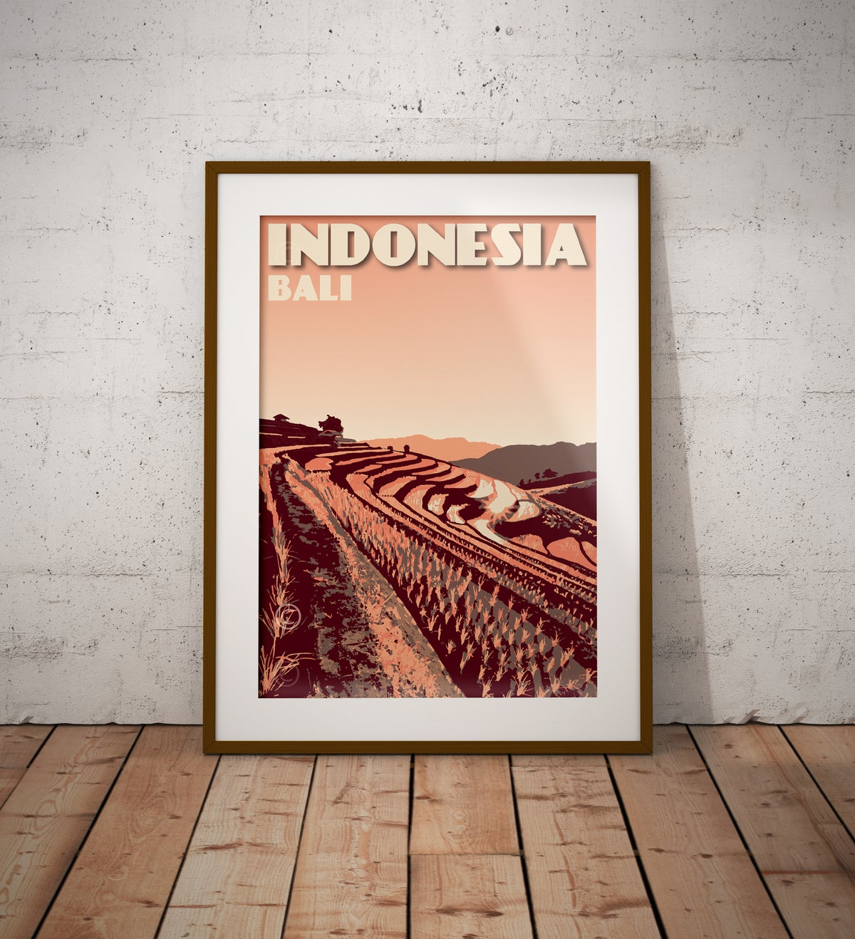 Image of Indonesia - Bali - Rice Terrace - Paddy field - Coral - Fine Art Print