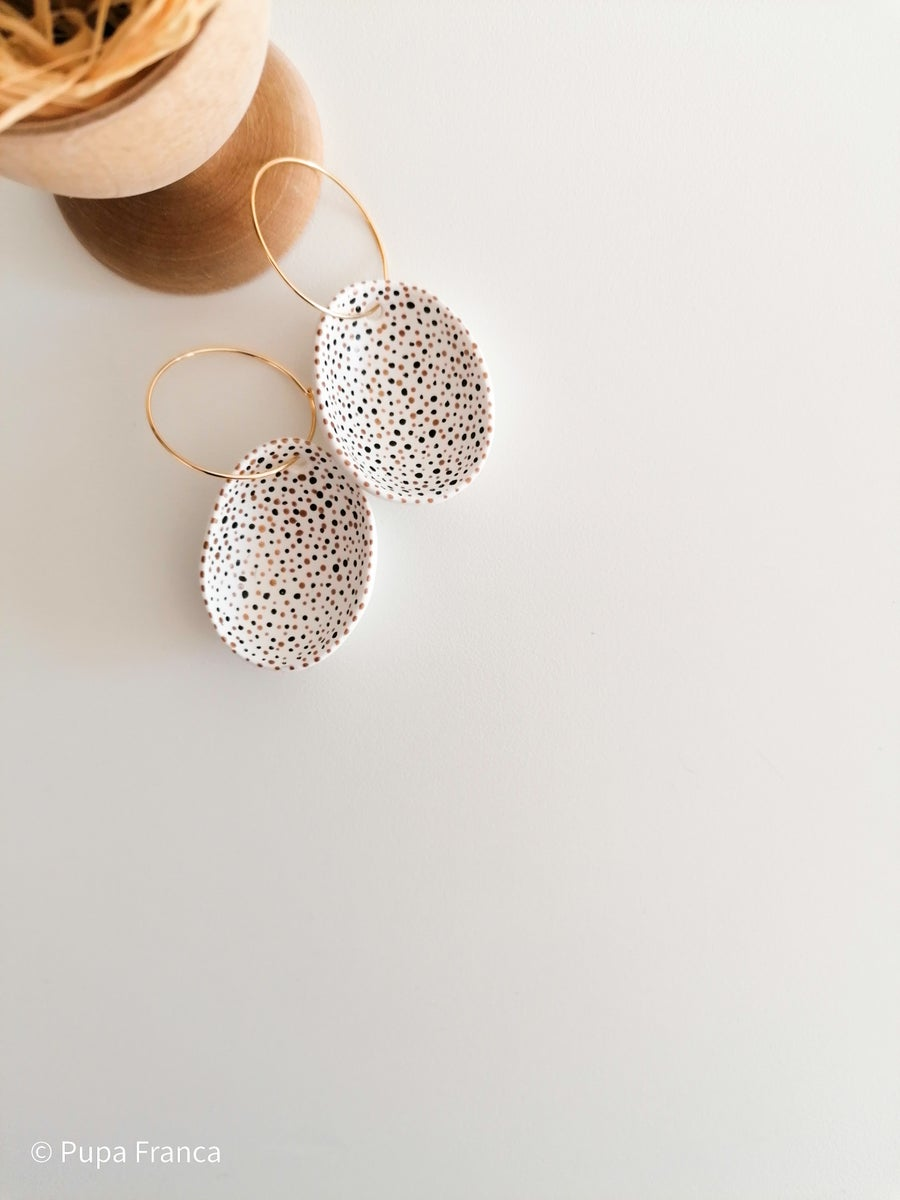 Image of Eggshell Earrings in Black and Gold Terrazzo Pattern MADE TO ORDER ONLY