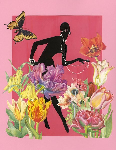 Image of Tiptoe through the tulips. Limited edition collage print.