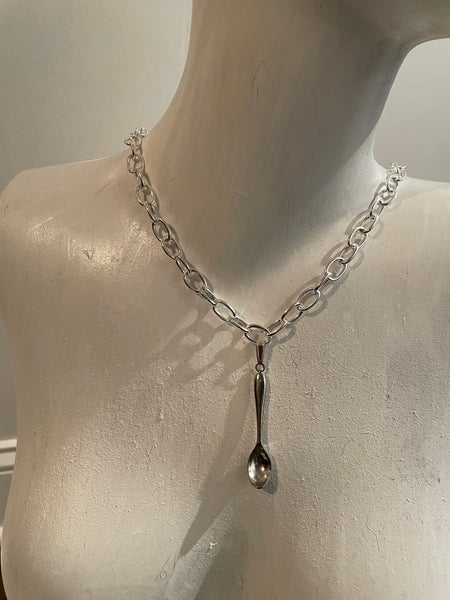 Image of Silver plated spoon pendant necklace