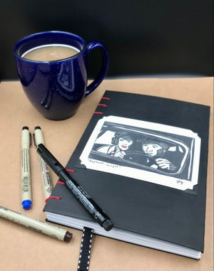 Image of Noir Inspired hand bound blank journal