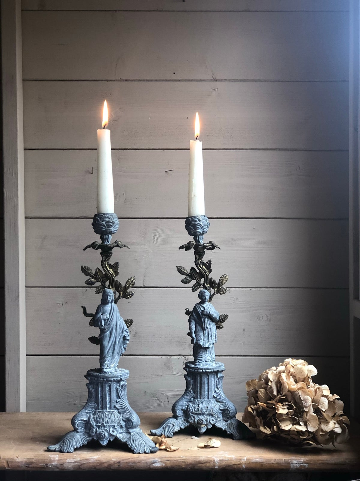 Image of French spelter candlesticks