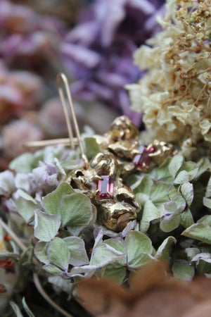 Image of Yellow Gold Pink Tourmaline Pod Cluster Earrings