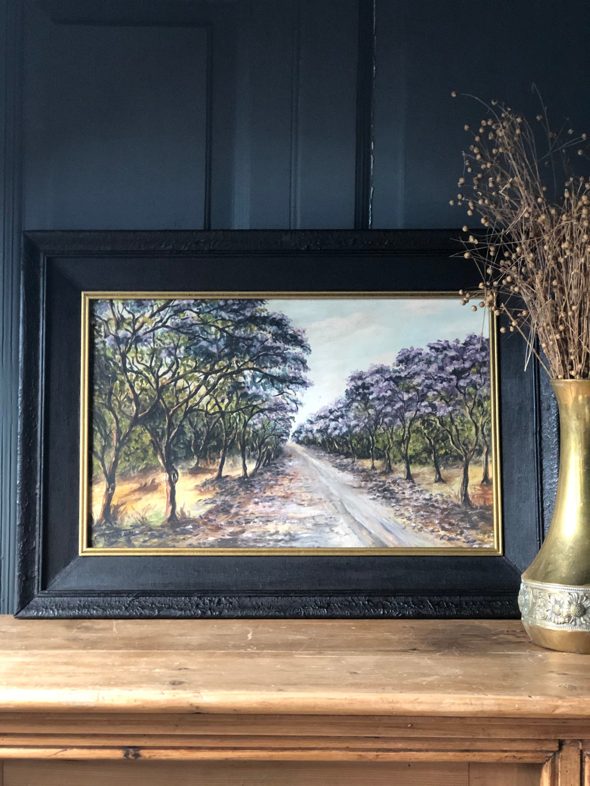 Image of Oil on board of trees in black frame