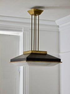 "Image of Pair of 19"" Square Ceiling Pendants with Brass Details, attr Stilnovo Italy"