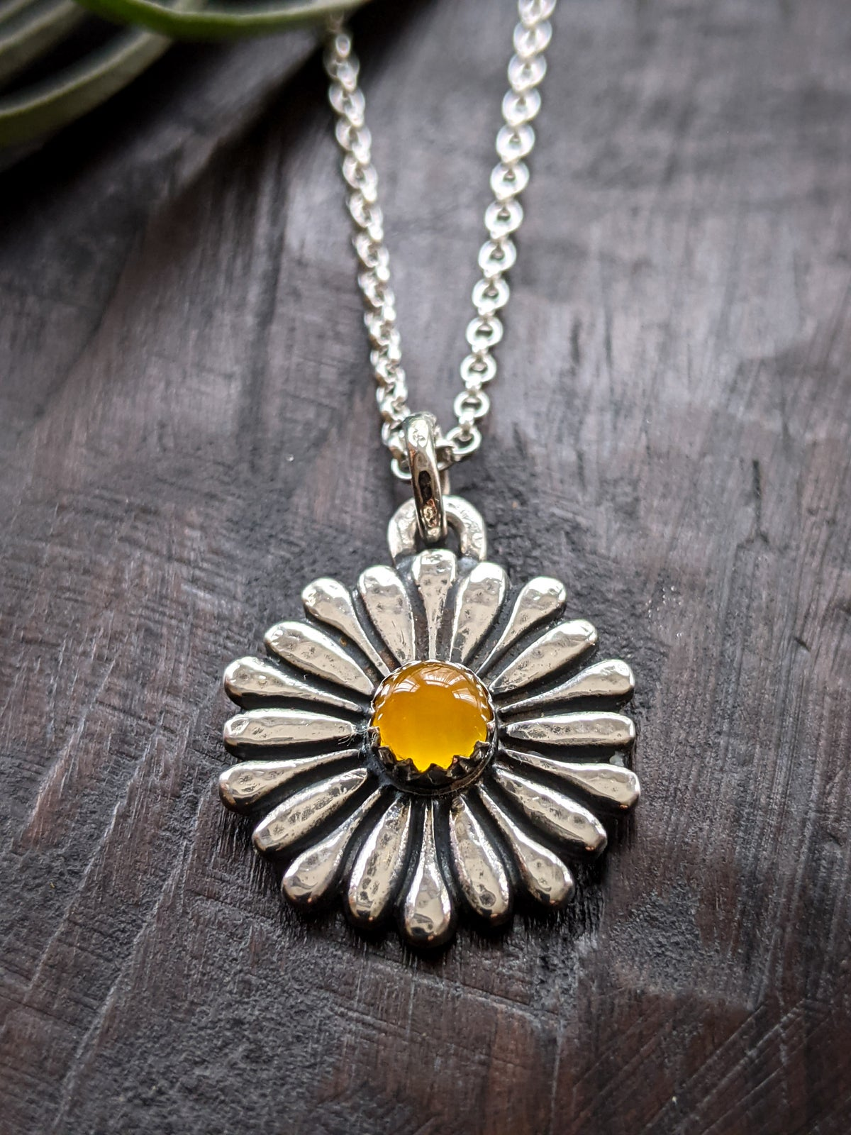 Daisy recycled textured silver & yellow chalcedony pendant