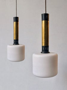 Image of Pair of Brass & Glass Pendant Lights, Stilnovo Italy