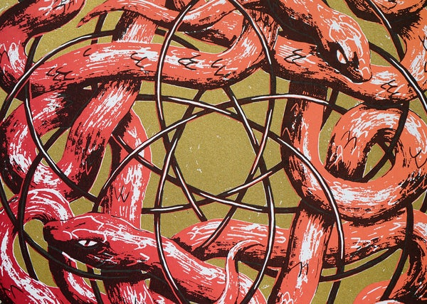 "Image of silkscreen print ""plastic snakes"" (red)"