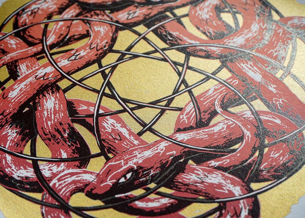 "Image of silkscreen print ""plastic snakes"" (red)"