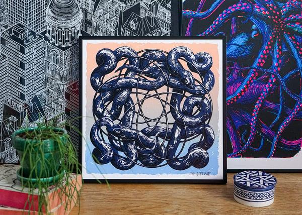 "Image of silkscreen print ""plastic snakes"" (blue)"
