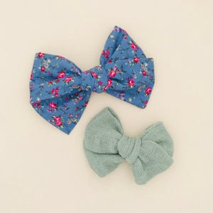 Image of Barrette coton bleu & roses roses
